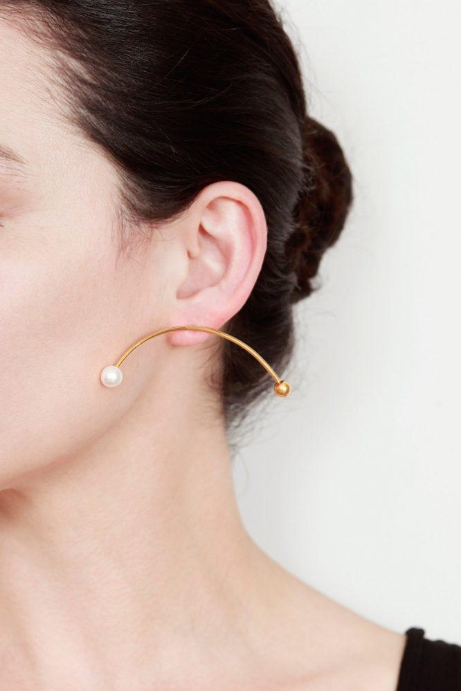 Original pendiente de oro con perla