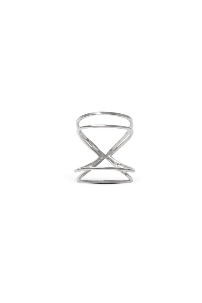 Rhodium Double Infinity ring