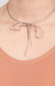 Rhodium Bow necklace