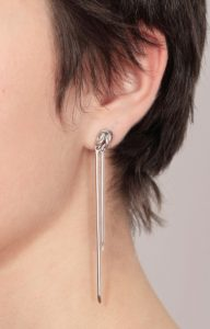 Rhodium Knot earrings