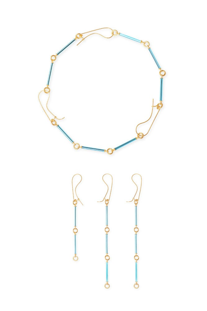 Neon Blue necklace-earrings