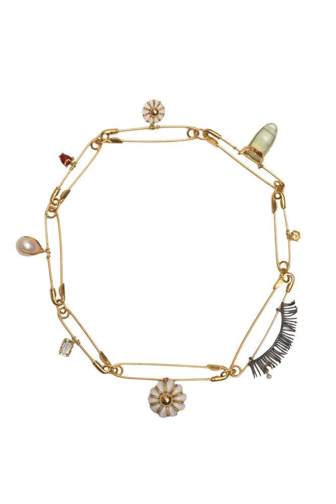 Collar imperdibles, margaritas, piedras y perlas