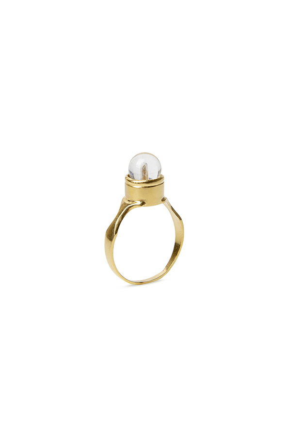 Gold round signet ring set with a clear quartz