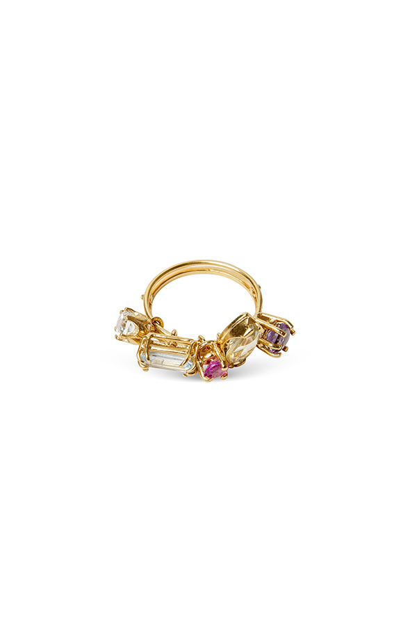 Gold ring et with lemon quartz, pink sapphire, amethyst, blue topaz and green amethyst