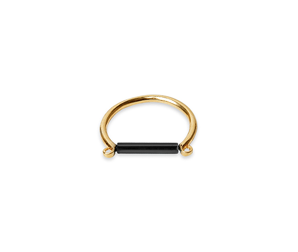 Gold ring with minimalist black bar