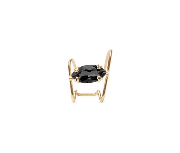 Black spinel gold ear cuff