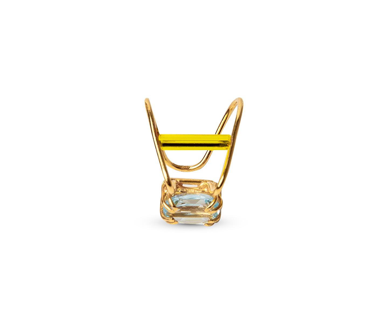 Blue topaz and neon lemon vintage glass gold ear cuff