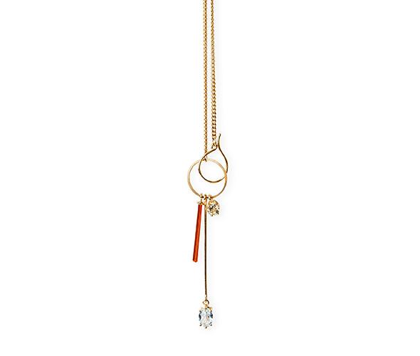 Gold necklace with neon orange crystal, blue topaz and lemon quartz