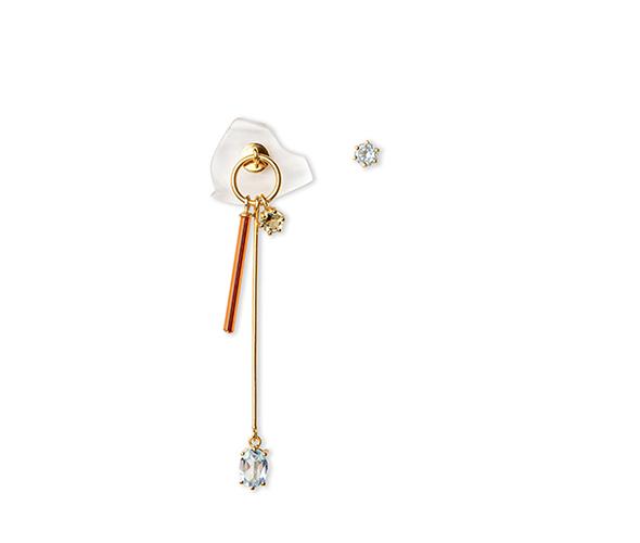 Long gold earring clear with neon fire orange vintage glass, blue topaz and lemon quartz.