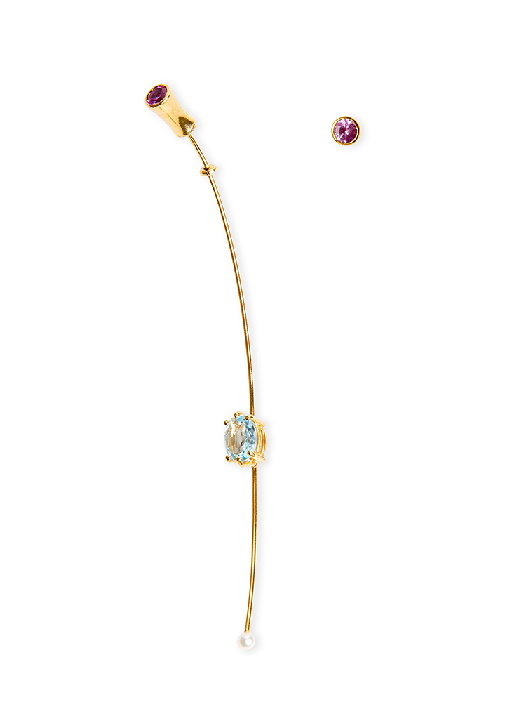 Long gold earring earrings with blue topaz, pink sapphire and fresh water pearl