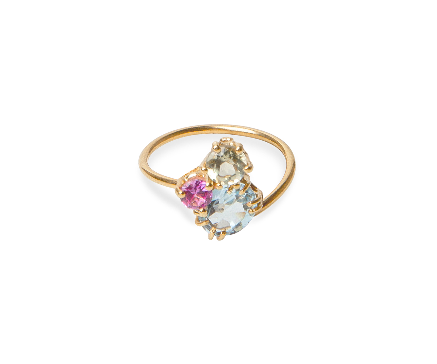 Gold ring ring set with lemon quartz, pink sapphire and blue topaz