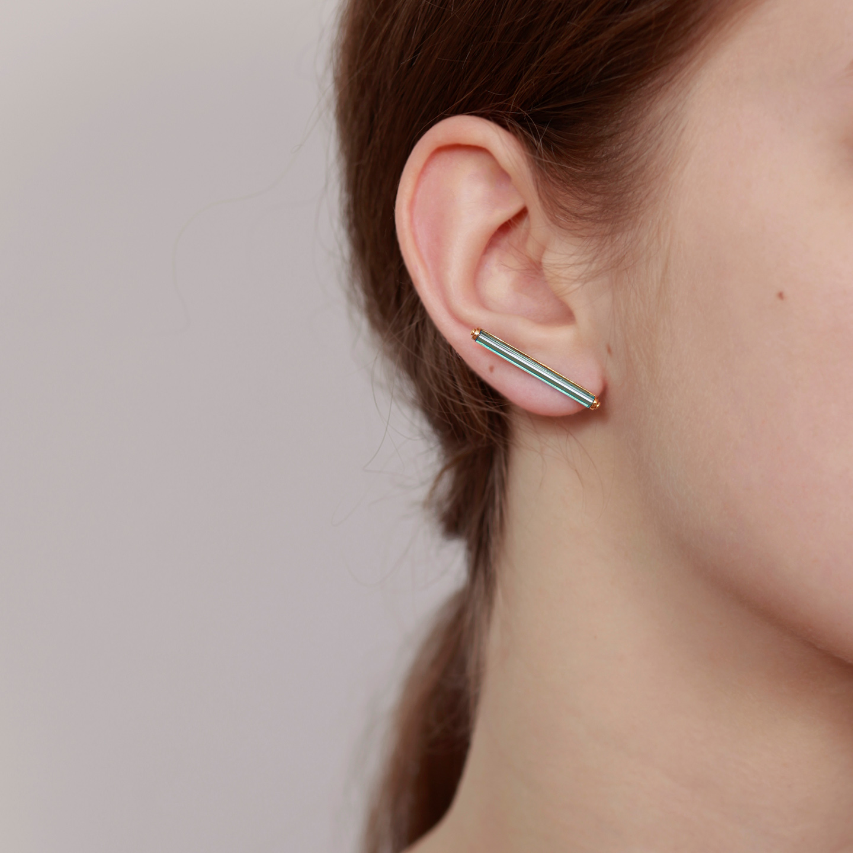 Bar minimalist earrings set with neon blue vintage glass