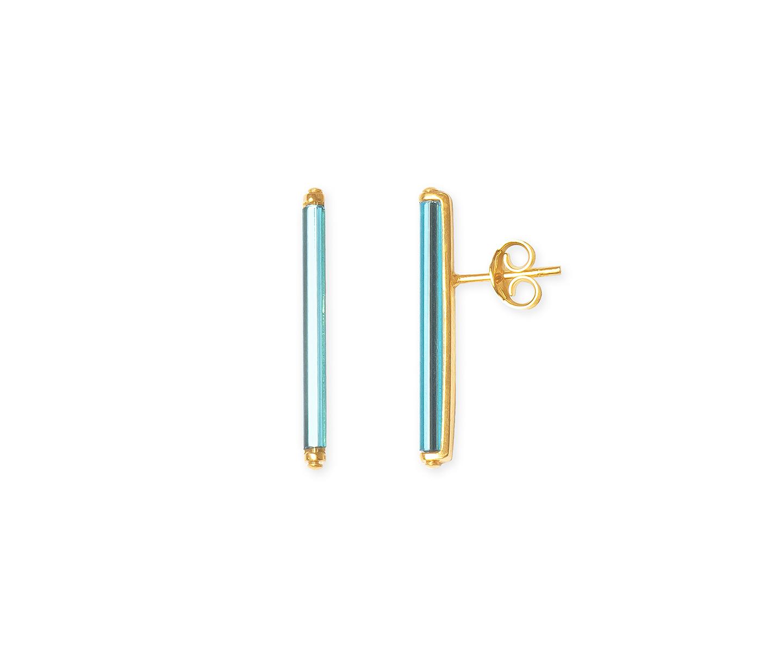 Pendientes de barra grande minimalista azul neón