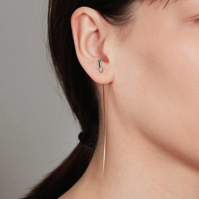 Neon blue bar long gold earring