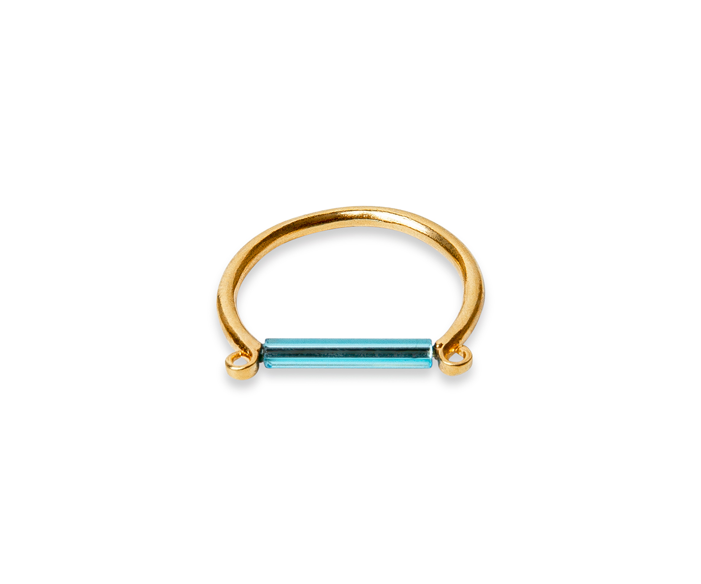 Gold ring with minimalist neon blue bar