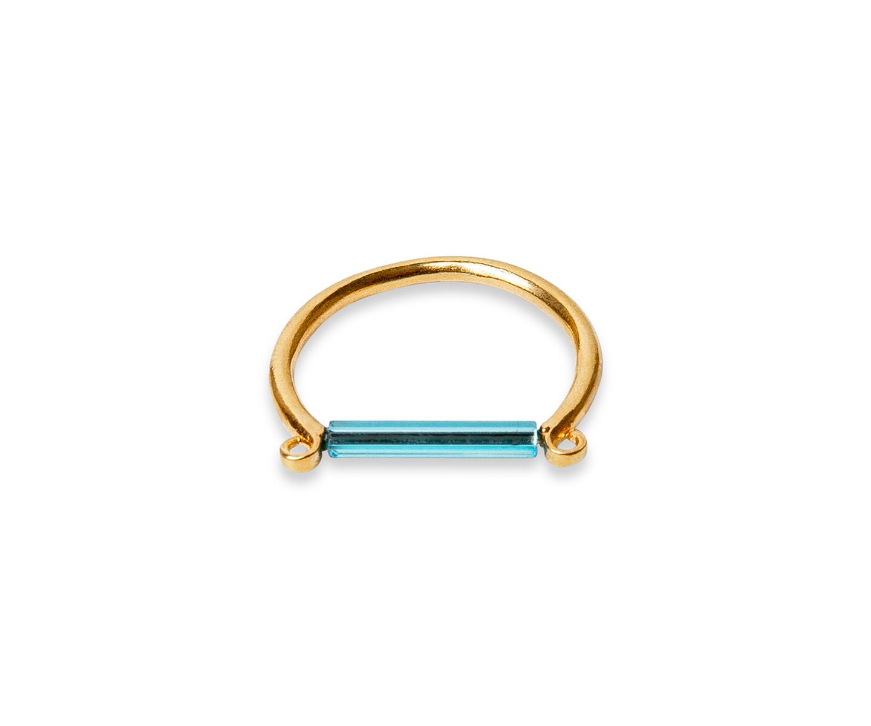 Anillo de oro con barra minimalista azul neon