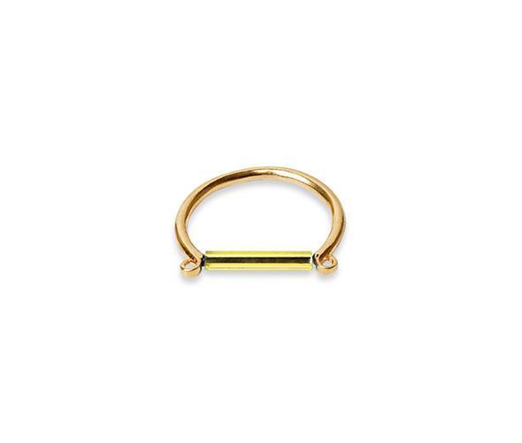 Gold ring with minimalist neon lemon bar