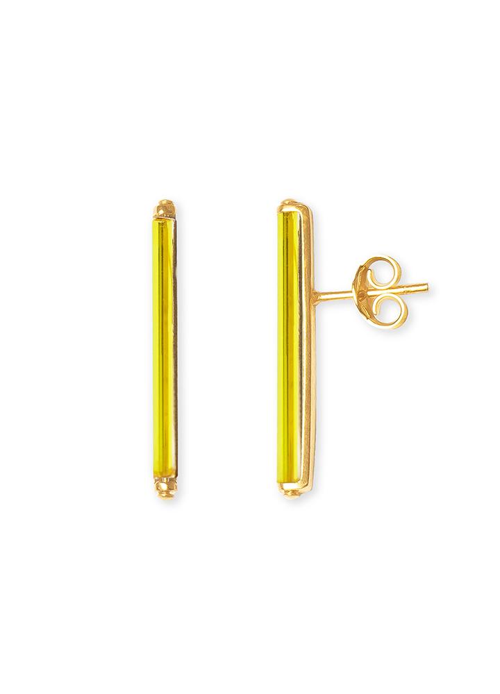 Bar minimalist earrings set with neon lemon vintage glass