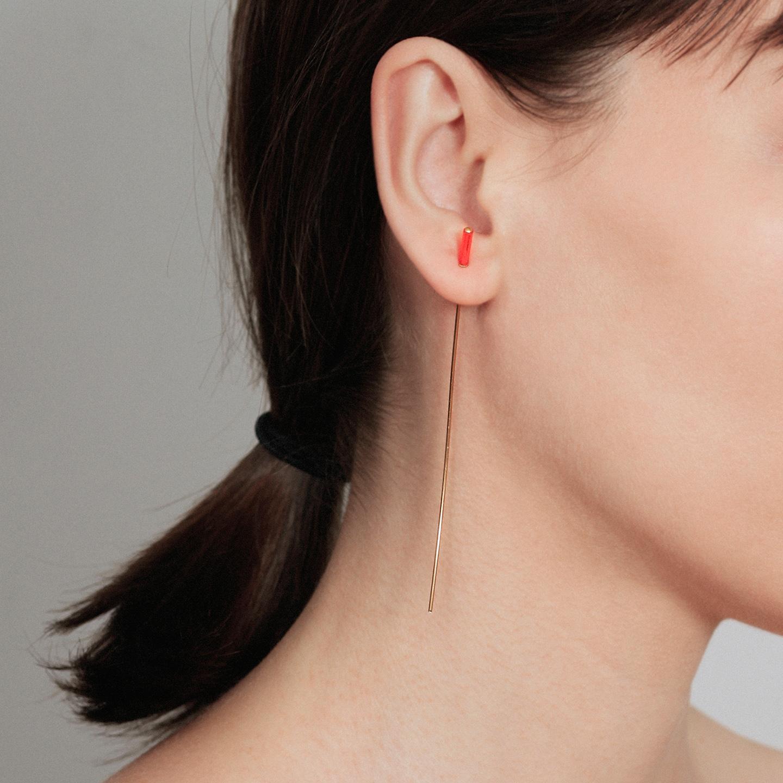 Neon orange bar long gold earring