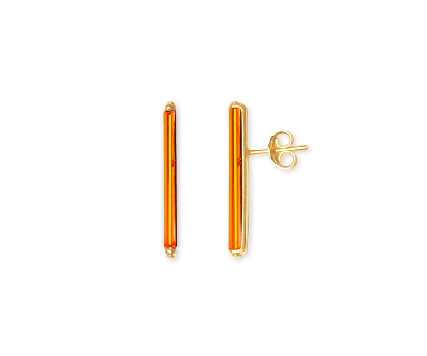 Bar minimalist earrings set with neon orange vintage glass