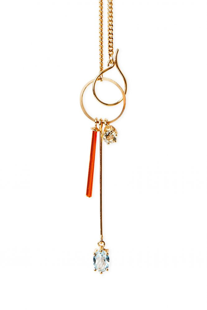 Gold necklace with neon orange crystal, blue topaz and lemon quartz