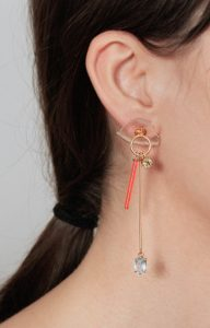 Long gold earring clear with neon fire orange vintage glass, blue topaz and lemon quartz.