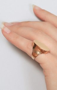 Gold flat signet ring