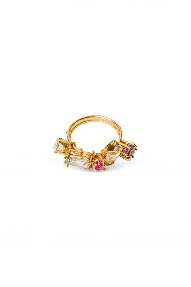 Gold ring et with lemon quartz, pink sapphire, amethyst, blue topaz and green amethyst