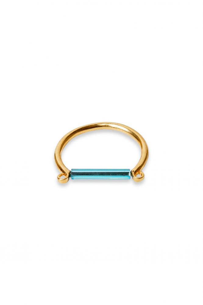 Neon blue bar ring