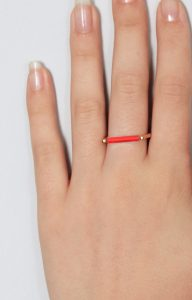 Gold ring with minimalist neon orange bar
