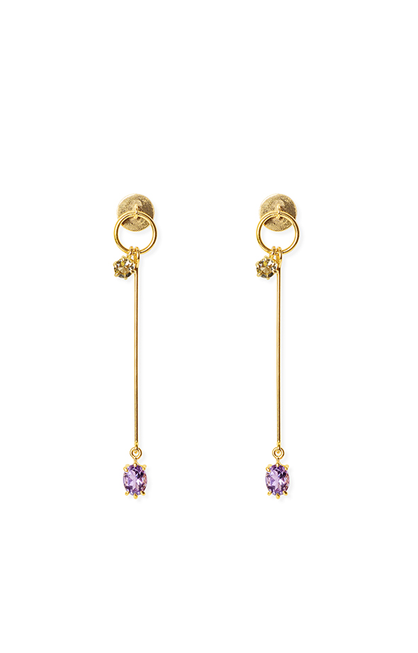 Amethyst and lemon long gold earrings