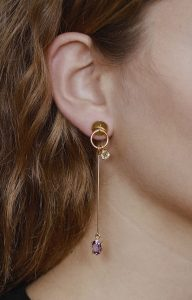 Amethyst and lemon long gold earrings