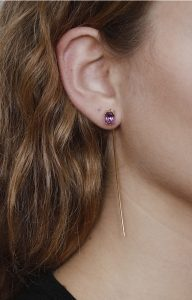 Amethyst Long Tusk Gold Earring