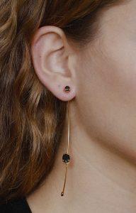 Black single earring