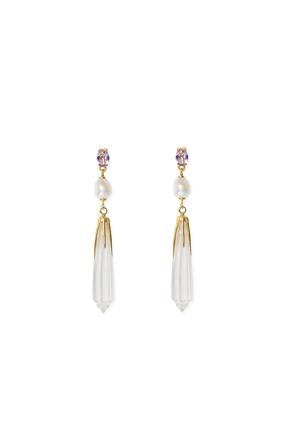 Long earring with amethyst, fresh water pearls and hand carved clear quartz
