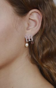 Letter M earring with zircons and pearl