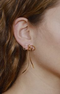 Little bows gold earrings