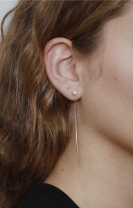 Pearl long tusk gold earring