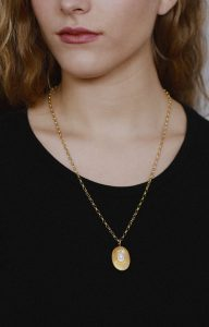 Fresh water pearl locket necklace in gold plated silver