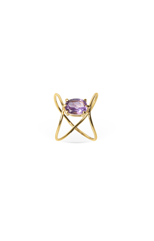 Amethyst gold double ring