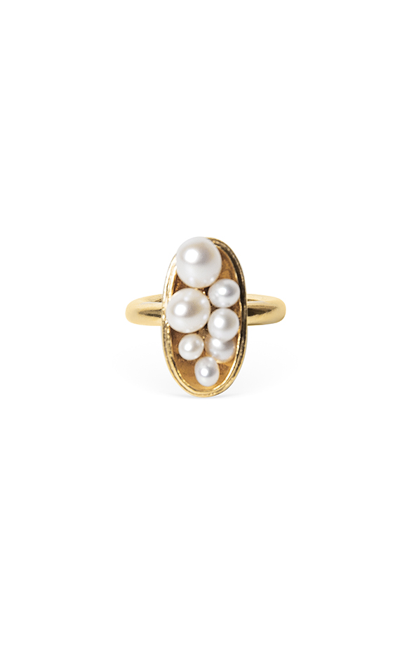 Pearl Cluster Gold Ring