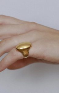 Dome signet ring in gold plated silver