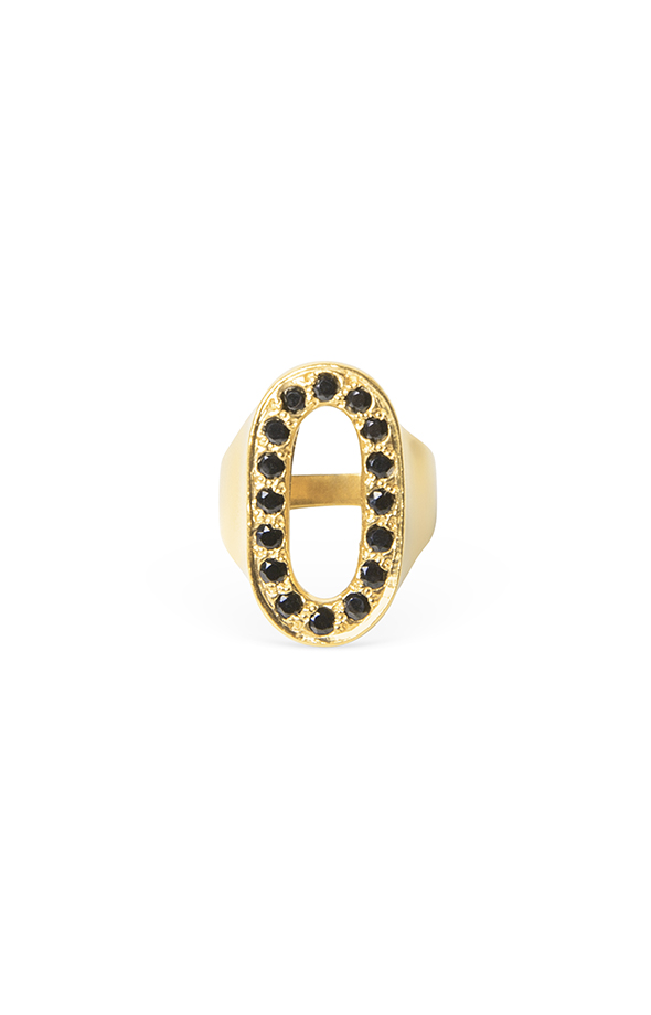 Oval black ring