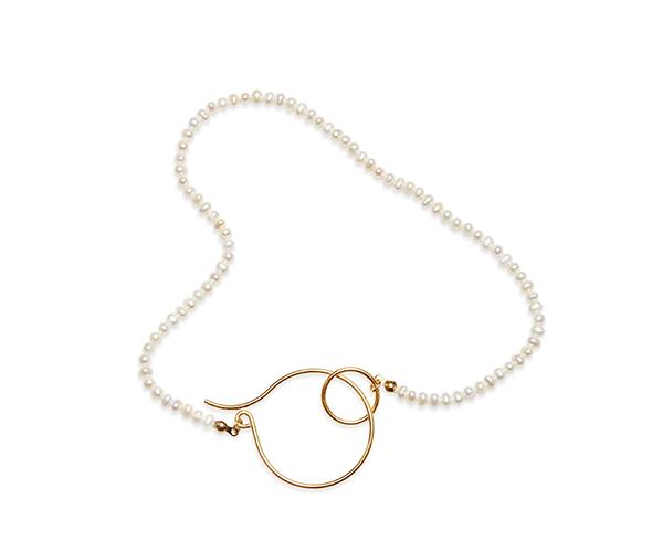 Open hoop pearl necklace