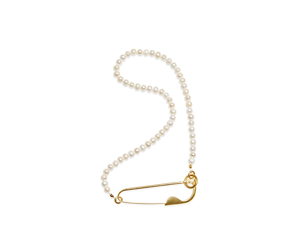 Safety pin pearl necklace