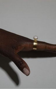 White Moon wide ring