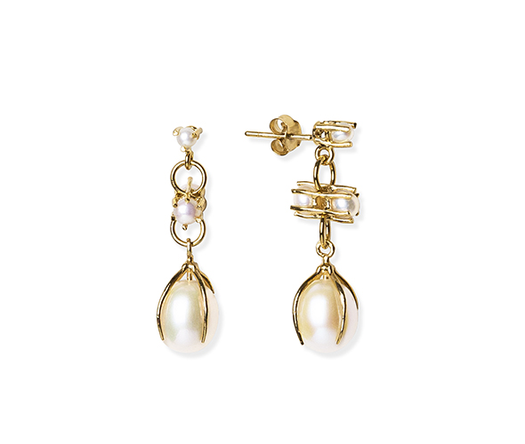 Two-sided White Earrings