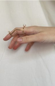 Two Pearls Articulated Ring